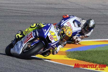 Not that it really matters but Valentino Rossi beat Jorge Lorenzo once again.