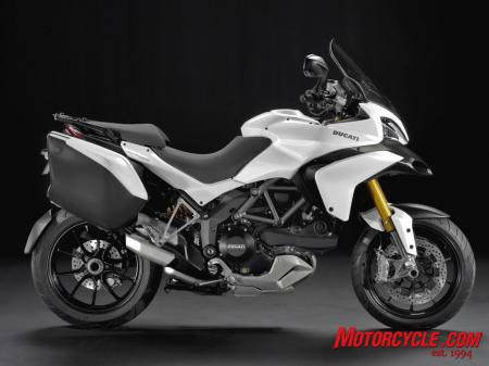 The 2010 Ducati Multistrada 1200 shown with hard bags.
