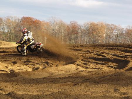 Dual sport meets moto. The big 530 proved to be surprisingly capable on a motocross track.