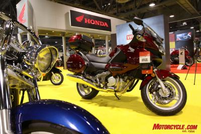 Cruisers dominated a lot of Honda real estate, but the new-to-the-U.S. lightweight sport-tourer, the NT700V, was also on display.