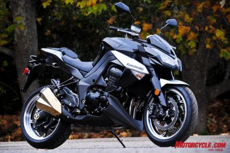 The 2010 Kawasaki Z1000 packs a mega punch for a modest price: $10,499. Available in this  Metallic Spark Black version or the Pearl Stardust White of our test bike in the action shots, both quite attractive.