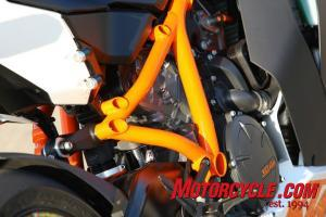 KTM's compact LC8 V-Twin is used as a stressed member to augment the large-tube chromoly steel frame.