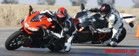 The Aprilia and KTM have similarly performing chassis, but the RSV4's slightly more communicative front-end and ultimately stronger motor up top keeps the KTM at bay – but just barely!