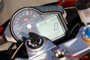 We favored the RSV4 Factory�s analog tach/LCD combo over the LCD-only panels as found on the Ducati and KTM.