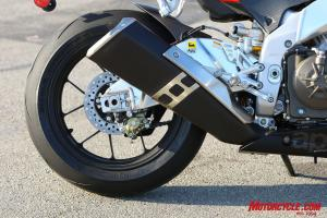 The note coming from the RSV4�s exhaust is intoxicating to the ears of those who love mechanical noises. �If a motorcycle exhaust can sound sexy, this is it. It's like a cross between a GP bike and a V-8 sprint car,� said Kevin.