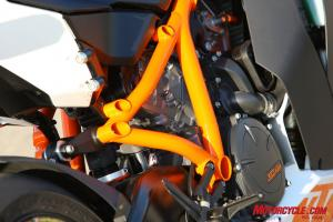 The 75-degree V-Twin in the KTM hangs as a stressed member in the trellis frame. The 1198S, like virtually all Ducatis, also uses a steel trellis frame.