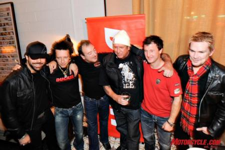 Ducati North America CEO Michael Lock is book-ended by Frankie Perez and Billy Morrison on his right and Steve Jones, Superbike racer Larry Pegram and Mark McGrath on his left.
