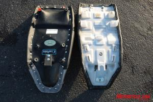 In with the new, out with the old: Corbin Flat (left), Kawasaki accessory gel saddle (at right).