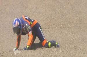 Michael Renseder's latest generation suit is shown inflated seconds into a 125 cc GP crash at Jerez last year.