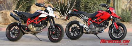 The Hypermotard 1100 EVO comes in two trim levels. On the left is the high-end SP version fitted with the accessory Termignoni exhaust system.