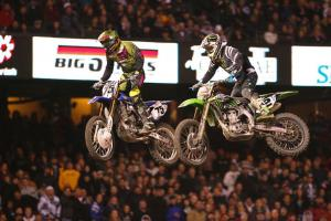 Hill (75) and Villopoto (2) dueled at close range for several laps in their battle for second place.