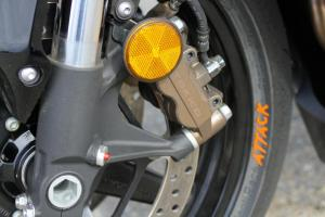 They don't look any different than standard brake calipers, but this pair of binders benefits from Honda's computer-controlled Combined Anti-lock Brake System.