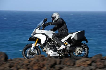 The S version of the Multistrada can be identified by its gold-colored fork legs that indicate the Ohlins electronic suspension.