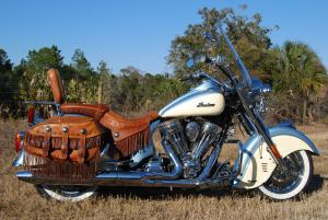 Our Chief Vintage came with optional distressed leather saddle, bags and backrest.