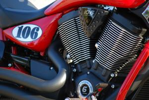 The driving force and key element of the LE is the 106-cubic-inch, 6-speed V-Twin with Stage 2 cams. Victory says the Vegas LE is the quickest Victory ever.