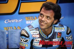 Come on Bruce, say what you want about Loris Capirossi and the Suzuki GSV-R, but at the very least, you've got to respect that hair.
