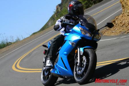 The Ninja 650R's narrowness and torque inspire corner carving all day long.