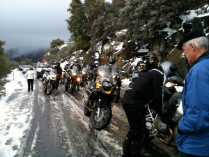 Despite the GS's ability to traverse all manner of terrain, a simple snow storm in Yosemite had the local constabulary digging in his heels, refusing a large party of GS bikes to pass through. We fought the law, and the law won. Image by author
