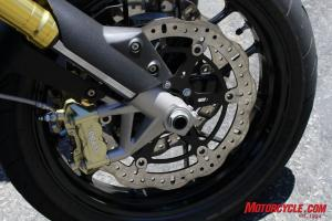 The Dorsoduro's Aprilia-branded four-piston, radial-mount brakes and wave-style rotors provided just as much power but a better level of feel than the Hyper's Brembo brakes.