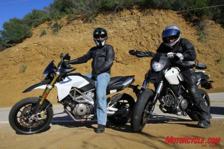 A pair of dorks aboard a pair of what we're calling urbanmotards. Are the Aprilia Dorsoduro 750 and Ducati Hypermotard 796 part of the new face of urban supermotoing? We were eager to find out.