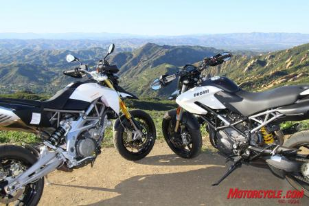 Whether bopping through urbanscapes, or seeking out twisted mountain roads, the Dorsoduro 750 and Hypermotard 796 are at home in either environment.
