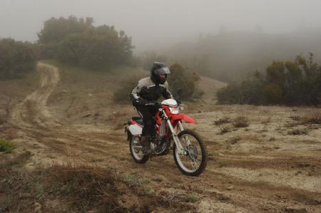 The KLX250S is not as powerful as the big KLR, but it is the ride of choice on technical terrain.
