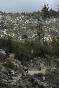 Trail riding at Idyllwild on Kawasaki's dual-purpose machines, the KLR650 and KLX250S.