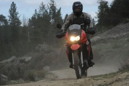 The KLR650 handles its 432 pounds surprisingly well.