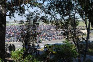 The circuit's parking lot was filled with thousands of motorcycles.