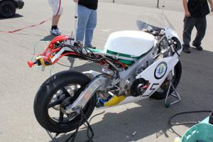 An electric shut-off is mandatory for all electric racers. Electric Race Bike's twin-Agni-motored TZ250-based machine shown.