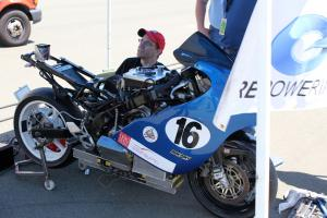 Square Wave racing gives its Ohio-originated Honda CBR-based bike a going over prior to the race.