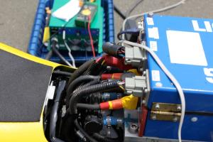 Coolant lines run to the controller box on the Lightning prototype racer.