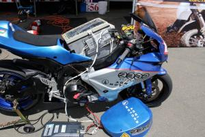 The winning Zero Agni was left with all its parts hanging out after winning the inaugural U,S. TTXGP.