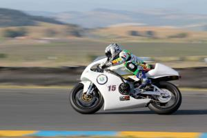 Mike Hannas streaks along in his TZ250-chassied electric racer.