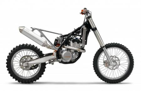 A stripped-down look at the 350SX-F. Note the linked rear suspension system.