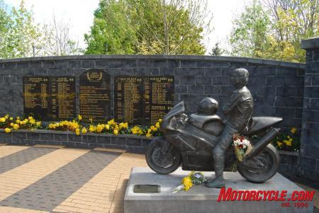The Joey Dunlop Memorial Garden in Ballymoney, Northern Ireland.