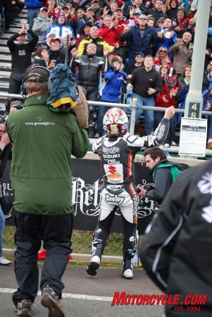 North West 200 winner, Alastair Seeley, revels in the crowd's adulation.