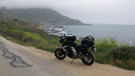 Loaded with enough weight to feel like a passenger was on board, we cranked rear spring preload up high, and the bike worked predictably while twisting up the fine ribbon of asphalt along the way to Big Sur, Monterey and beyond.