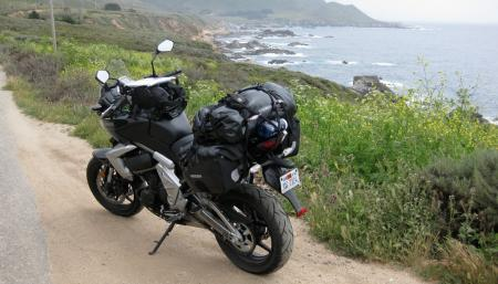 All dressed up, and everywhere to go. The Versys was back in black, posed momentarily heading the wrong way alongside the beautiful Pacific on the road just south of Big Sur.