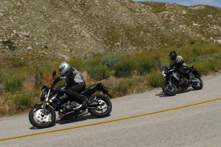 See the stylistic family resemblance between the Versys and shorter travel ER-6n? The Versys has more sophisticated suspension and stronger midrange power, and is every bit as much the sporting machine as the ER.