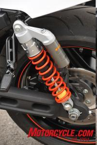 New fully adjustable Showa coil-over shocks offer easy access to compression damping via the simple dial atop the piggyback nitrogen reservoir. Rebound adjuster is at the shocks' mount point.