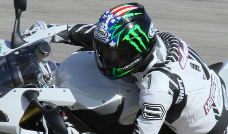 Arai�s top-line lid for 2010 is the updated Corsair, the Corsair V, seen here in the John Hopkins racer replica.