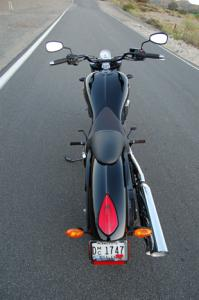 You can appreciate the 8 Ball�s minimalist styling when viewing the bike from behind.