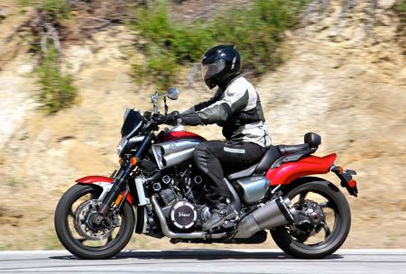 The VMax's rider triangle keeps the rider in an upright position, yet is comfortable for hours on end according to new MO mule, Jeff.