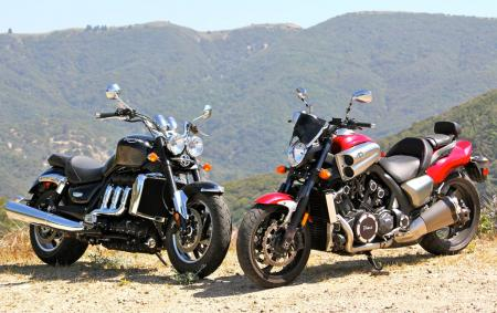 Coupla hogzillas here. 2010 Triumph Rocket Roadster and 2010 Star VMax.