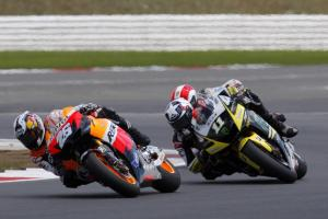 Dani Pedrosa had the opposite result, starting strong but fading near the end.