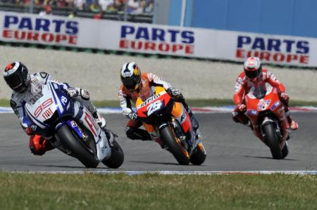 Jorge Lorenzo, Dani Pedrosa and Casey Stoner took all three spots on the podium at Assen.