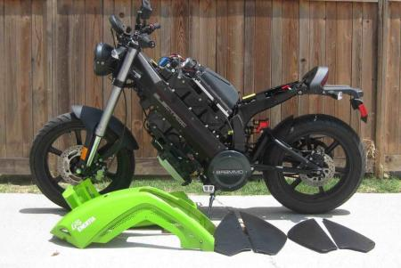 This is what a production electrical motorcycle looks like naked with her clothes on the floor. (See more such detail pics in gallery.)