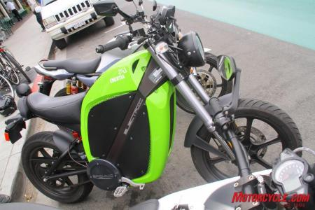 No, it�s not �Kawasaki green,� as some people have commented. It�s Brammo Subliminal Green! It can also be had in a light blue, burnt orange, white, and grayish-silver.