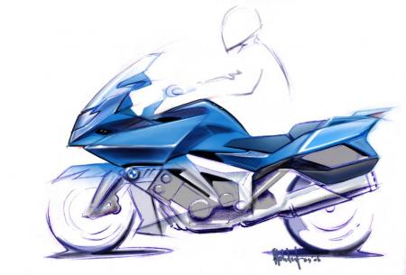 BMW's sketches give us an idea of what the K1600 models will look like. Note the 55 degree forward tilt of the engine cylinders which, BMW says, lowers center of gravity and improves air intake.